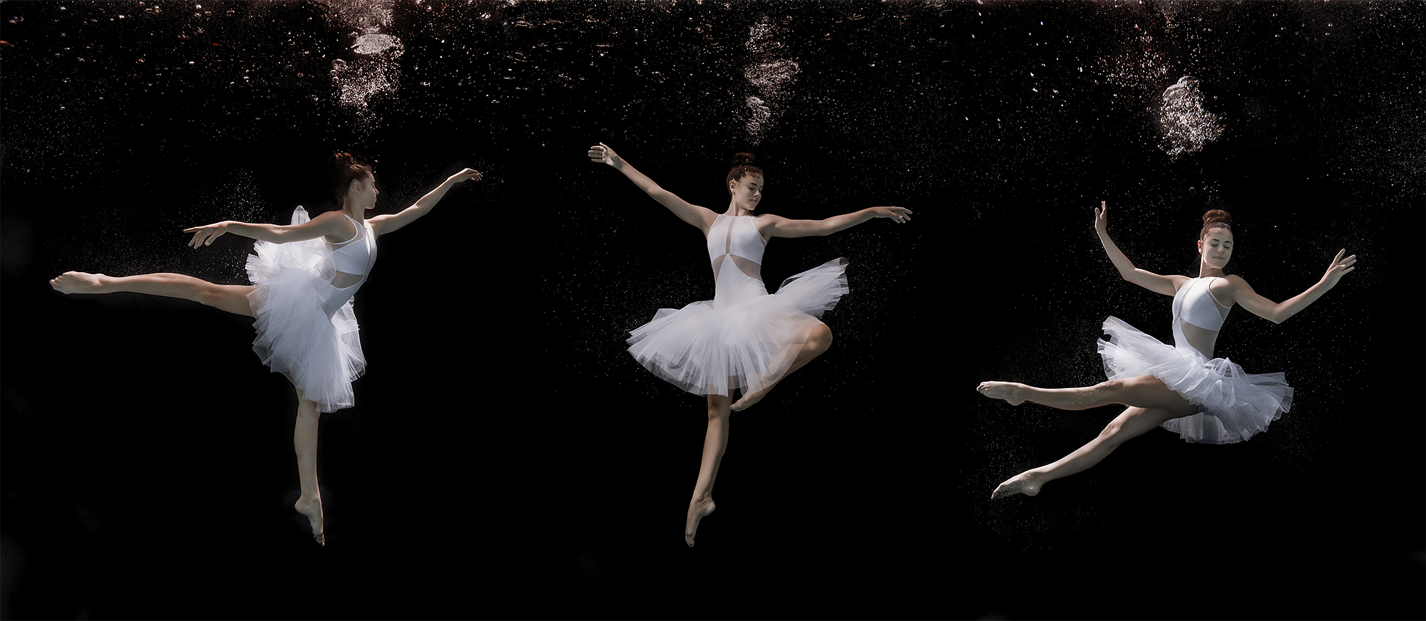 triptych of a ballet dancer dancing underwater, wearing a white tutu, black background, lots of bubbles