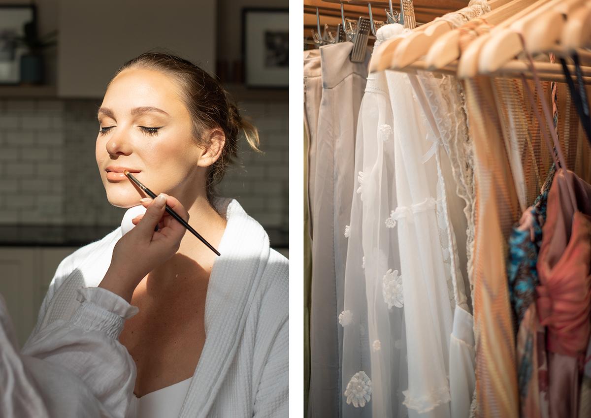 makeup application and wardrobe styling