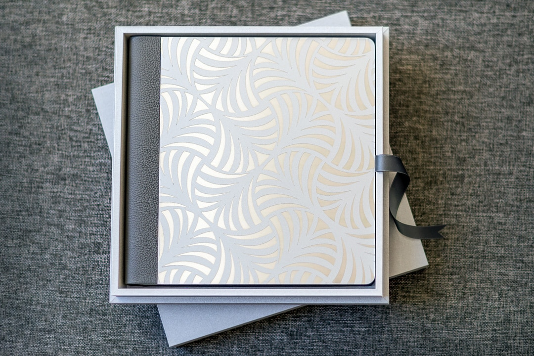 photo album with engraved metal cover